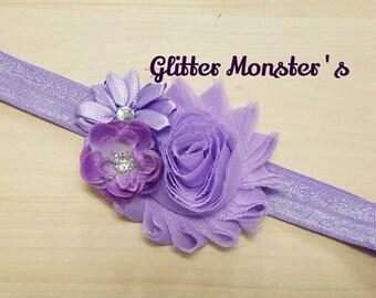 Spring Lavender Headband,Lavender Headband,Lavender Hair Bow,Baby Headband,Newborn Headband,Flower Girl Headband,Easter Flower Headband