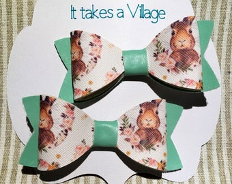 Girl's Hair Bows (3 pairs), clips,fun Animals, Cats, Bunnies, Llama, Faux Leather, toddler