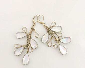 Iridescent Capiz Shell Chandelier Earrings, Antique Gold Earrings