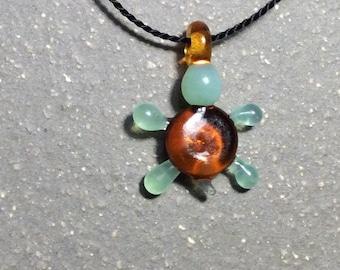 Turtle bead necklace, animal necklace, silk necklace