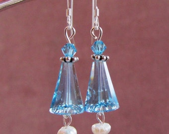 Swarovski Artemis and Bicone Aquamarine Beads and Pearl Sterling Silver Earrings