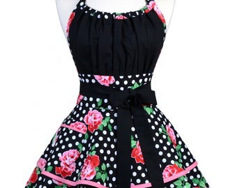 Flirty Chic Pinup Apron - Pink Roses and Polka Dots - Womens Sexy Cute Retro Kitchen Apron with Pocket