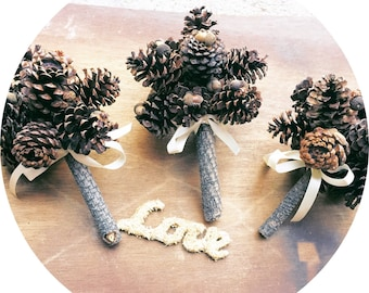 Pine Cone Bouquet Bridesmaids Rustic Winter Wedding