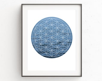 Flower of Life Wall Print, Flower of Life Artwork, Sea Photography, Sea Print, Ocean Decor, Ocean Print, Blue Art, Flower of Life, Wall Art