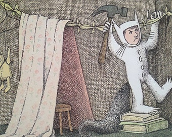 Where the Wild Things Are Bookplate   Vintage Artwork   Maurice Sendak   Where the Wild Things Are Print   Nursery Decor   Children's Book