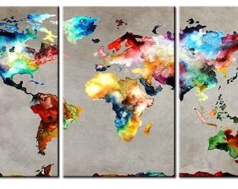 Gorgeous world map 3 panel canvas wall art giftworld map amazing world map 3 panel canvas prints wall art gift world map canvas world map abstract world map 3 panel canvascanvas art home decor gumiabroncs Choice Image