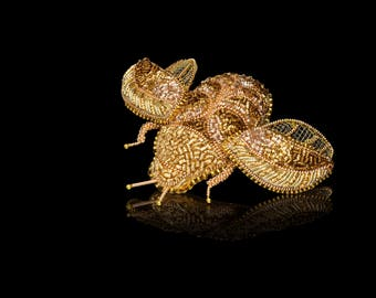 Golden Beetle Embroidered Brooch for Women Handmade Shiny Beetle Beetle Brooch Golden Brooch Insect Jewelry Beetle Jewelry Insect Brooch