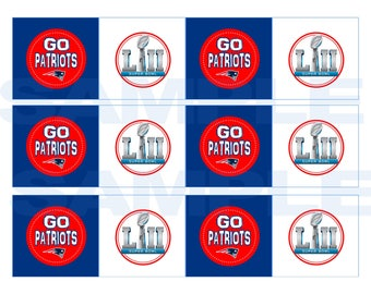 Printable New England Patriot Party Tag Cupcake Topper