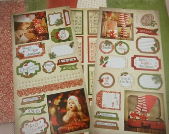 Assortment of paper scrapbooking shapes, Christmas