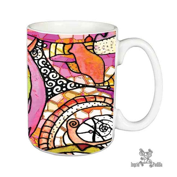 Artsy, Mug, Unique, Coffee Mug, Funky, coffee cup, Abstract, Art, Ingrid Padilla