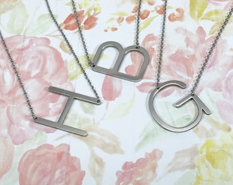 Large Initial Necklace Oversized Letter Alphabet Personalized Sideways Initial Oversize Letter Mother's day, Birthday gift