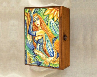 fairy box, watercolor illustration, treasure box, art box, wooden gift box, jewelry box, 7x10