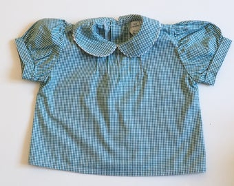 Green and white shirt 6 months girl Peter Pan collar