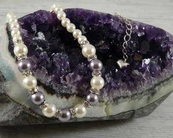 Swarovski glass pearl necklace cream rose and mauve with roundels and extension chain