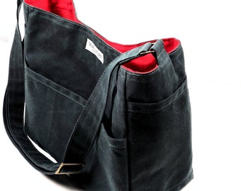 Waxed Canvas Crossbody Bag, Canvas Bucket Bag, Leather Alternative Messenger Tote Purse,   SHILOH by WhiteCross Designs,  Made to Order