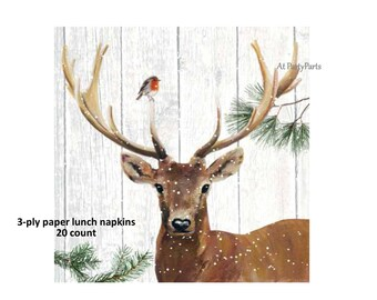 deer napkins, winter buck, antlers, rustic table decorations, woodland wedding, stag, rack, robin, bird, snow, disposable tableware