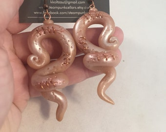Stitched Flesh Tentacle Earrings polymer clay