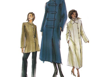 Uncut Vogue 7807, sewing pattern, size 8-12 women's loose fitting coat, asymmetrical, wool coat, double breasted coat