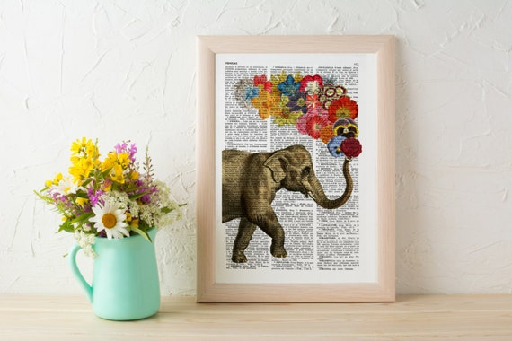 Elephant with Flowers gift for her wall art decor Unique Love print Elephant wall hanging Printed on dictionary ANI091