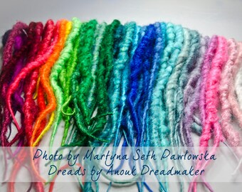 40 double ended wrapped synthetic dread extensions - rainbow