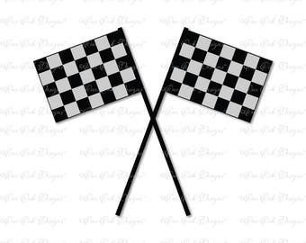 Crossed Checkered Flag SVG DXF PNG for Cameo, Cricut & other electronic cutters