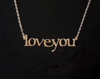 Love You Necklace - 14kt White Gold or 14kt Yellow Gold