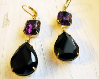 Purple Amethyst Earrings Purple Earrings Bridesmaids Gift Purple and Black Earrings Bridal Jewelry Bridesmaid Gift Wedding Jewelry