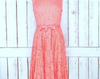 90s vintage peach/pink floral eyelet sleeveless ruffle midi dress/eyelet cotton dress/10