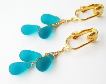 Frosted Teal Teadrop Clip-on Earrings, Matte Aqua Glass Drop Dangle Clip Earrings for Non Pierced Ears, Gold Turquoise Cascade Clipons, Ari