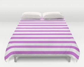Purple Striped Duvet Cover, Twin, Queen, King, Kids Bedroom Decor, Girls Room Decor, Kids Bedding, Teen Girl Room Decor, Tween Girls