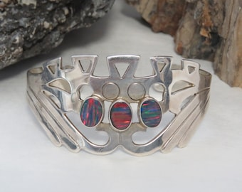 Sterling silver cuff bracelet, Opal bracelet, vintage, marked 925, 29.4 grams
