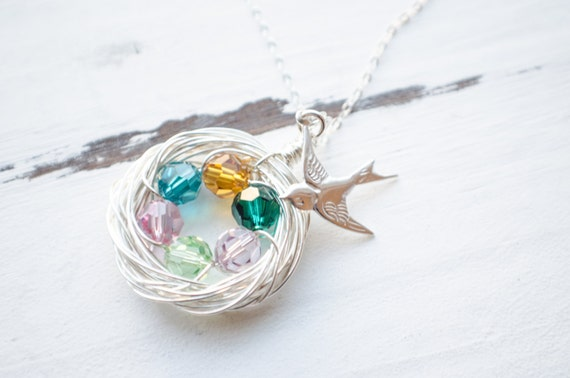 Bird Nest Necklace - Family of 6 - Silver Nest Crystal Eggs Beads | Sparrow Spiral Nest | Personalized Gifts for Mom and Grandma