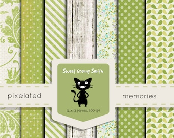 Digital Scrapbooking Paper Pack Apple Green Sweet Granny Smith Hi-Rez Set Shabby Cottage Chic For Personal and Commercial Use