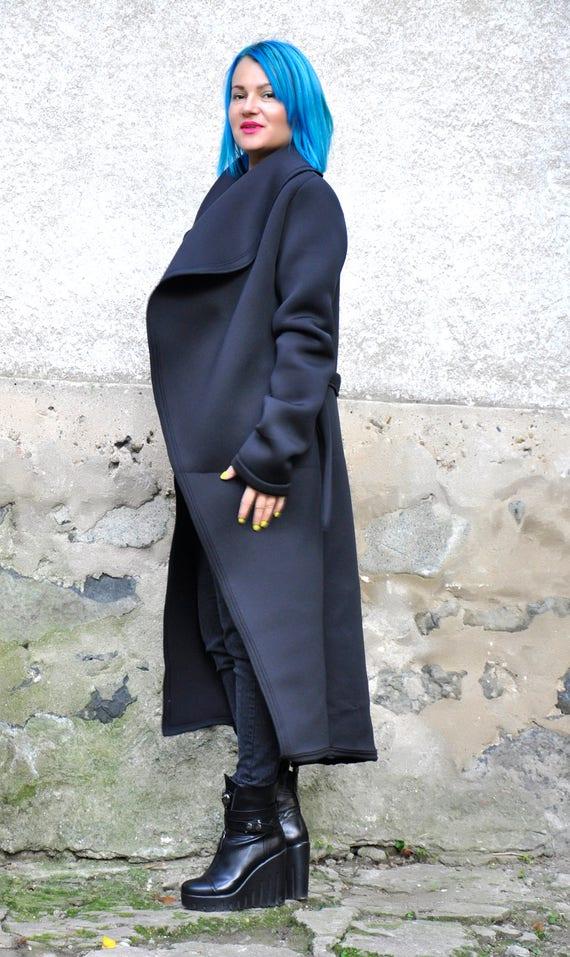 Casual Jacket Extravagant Black Long Coat NEW Black size Coat Plus Black C0378 Maxi Jacket Jacket Neoprene Woman Coat Elegant Simple coat PSnpfq7