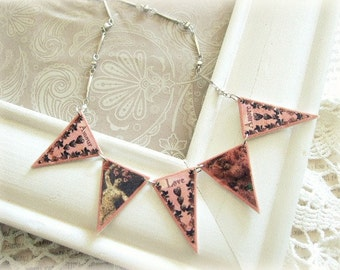 ON SALE Pink Amour Bunting Necklace