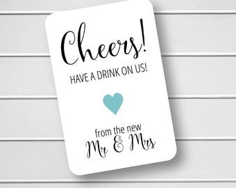 Cheers Drink Ticket Reception Favor Tags, Wedding Favor Tags, Cheers Wedding Favor Tags, Small Wedding Favor Tags (RR-188)