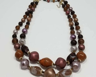 Beautiful Bead & Faux Pearl Double Strand Necklace from Japan