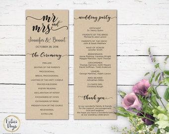Mr & Mrs Wedding Program Editable Template, DIY Wedding Program, Wedding Program Printable, Ceremony Printable, PDF Instant Download MR312