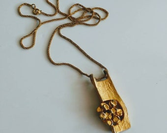 Vintage gilded goldtone brutalist pendant necklace