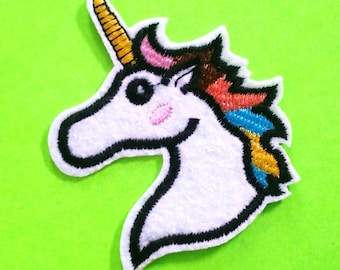 Unicorn Rainbow Mane Bust or Prancing Pony Bright Colourful Happy Kawaii Pastel Goodness Embroidered Iron or Sew On Patch - More Styles