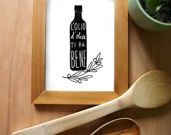 Olive Oil Italian Kitchen Art Print / L'OLIO Black / high quality fine art print