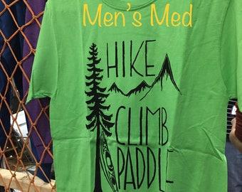 """MENS SMALL GREEN """"Hike Climb Paddle"""""""