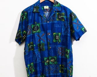 Vintage 1950s Blue H awaiian Shirt XL