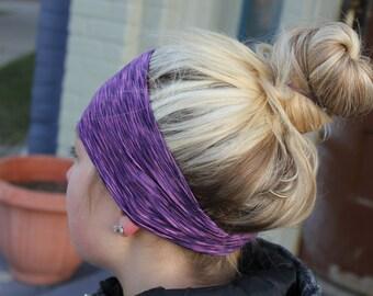 Purple Stripe   Yoga Headband   Workout Headband   Fitness Headband   Running Headband   Wide Headband   Pilates Headband   Barre Headband