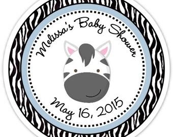 Zèbre bébé douche autocollants - zèbre bébé personnalisé douche étiquettes - personnalisés pour vous, douche de bébé imprimé zèbre