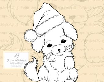 PNG Digital Stamp - Christmas Puppy with Santa Hat and Candy Cane - Holiday Whimsical Animal Line Art for Cards & Crafts by Mitzi Sato-Wiuff