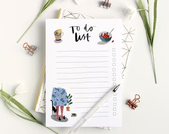 Illustrated To do List Notepad - A5 Desk planner - To do list planner - desk pad - desk planner - brush lettered notepad - A5 to do list