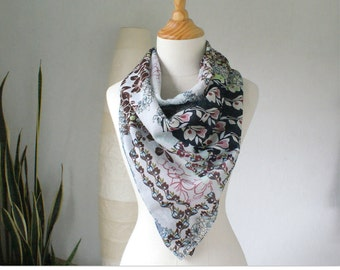 Summer SALE, Cotton / silk scarf, extra large -LAST one