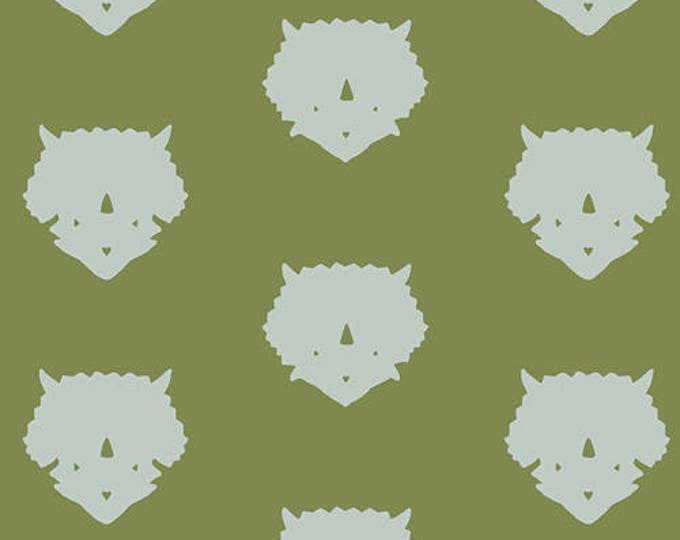 Triceratops in Olive- Esoterra- by Katarina Roccella for Art Gallery Fabric