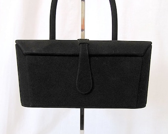 """CLEARANCE Cute 1950's Black Suede Box Purse by """"Theodor California"""" Vintage Rockabilly VLV Pinup Purse"""